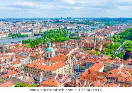 telhados · Praga · topo · ver · azulejos · velho - foto stock © joyr