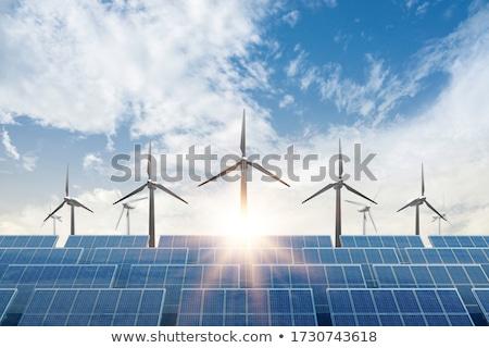 Alternatív energia szélturbina vidék víz fa Stock fotó © ldambies