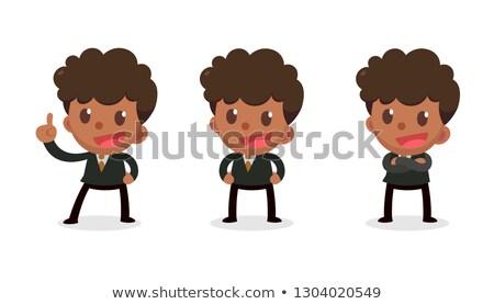 Karykatura biznesmen wskazując szkoły szczęśliwy Zdjęcia stock © pkdinkar