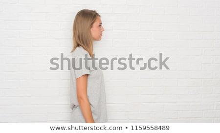 Profil güzel sarışın kadın yalıtılmış beyaz kadın Stok fotoğraf © pekour