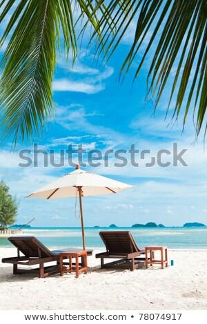 Płótnie krzesło tropikalnej plaży Tajlandia wody piękna Zdjęcia stock © Archipoch