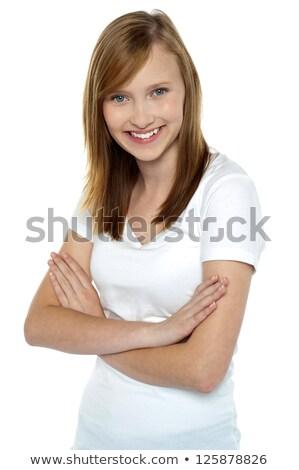 Modieus tienermeisje halve lengte portret geïsoleerd witte Stockfoto © stockyimages