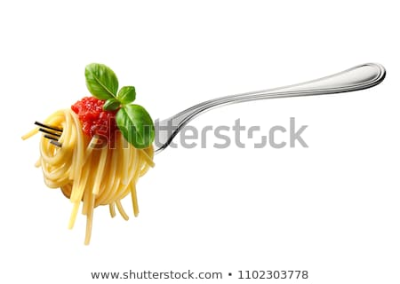 fork with pasta, tomato and basil stock photo © M-studio
