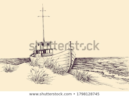 boten · strand · boot · zonsopgang · hemel · landschap - stockfoto © ajlber