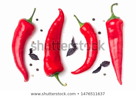 Stock photo: red hot chilli pepper with basil and garlic on table