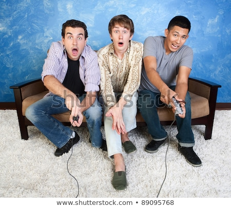 üç · gençler · oynama · video · oyunları · bilgisayar · kadın - stok fotoğraf © photography33