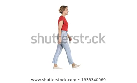 Kadın bacaklar pembe topuk yalıtılmış beyaz Stok fotoğraf © Nobilior