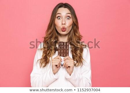 retrato · chocolate · jovem · beautiful · girl - foto stock © carlodapino