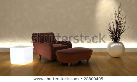 contemporary arm chair and ottoman in moderen setting Stock photo © kjpargeter