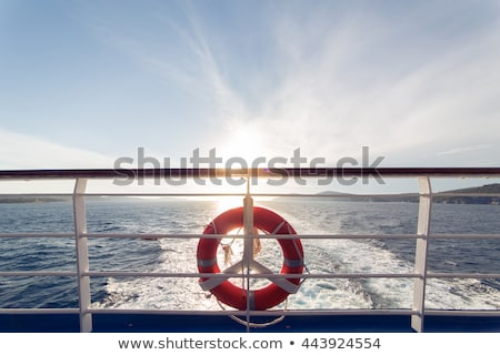 Cruise ship on horizon at sunset Stock photo © backyardproductions