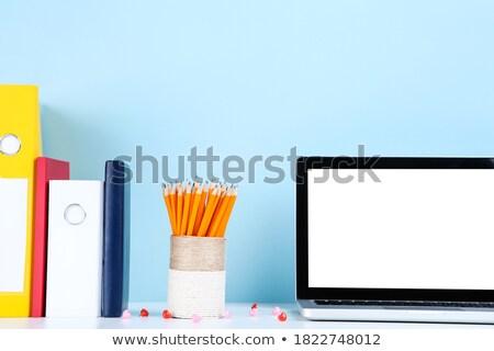 kék · mappa · citromsárga · ceruza · rajzfilmkarakter · akta - stock fotó © tashatuvango