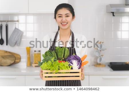женщину · фрукты · корзины · изолированный · белый - Сток-фото © photography33