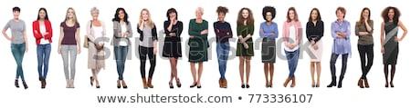 Lezser nő fiatal nő bőr szék stúdiófelvétel Stock fotó © nickp37