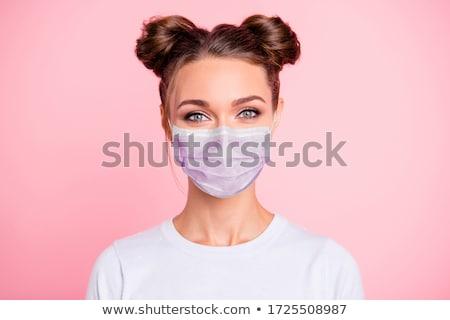 femme · écrit · portable · blanc · noir · bleu · shirt - photo stock © farina6000