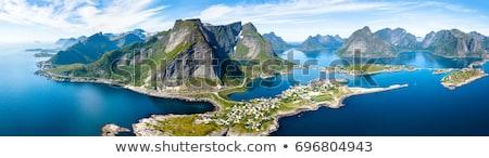 Панорама · молодым · человеком · рюкзак · Норвегия · пейзаж - Сток-фото © harlekino