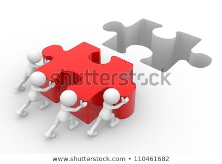 3d pessoas homem desaparecido peça vermelho quebra-cabeça Foto stock © dacasdo