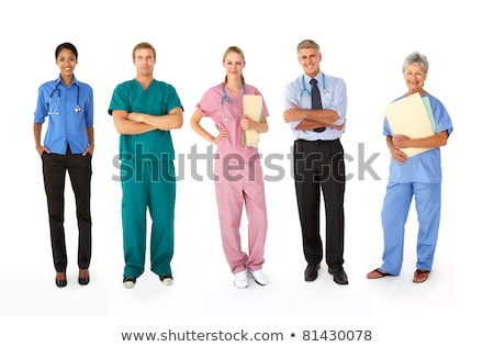 full length portrait of a smiling male doctor holding a notepad stock photo © vlad_star