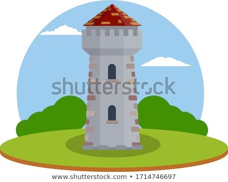 Schönen zuverlässig Festung Hügel Illustration Wolke Stock foto © yurkina