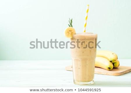 plátano · zalamero · alimentos · vidrio · desayuno · blanco - foto stock © M-studio