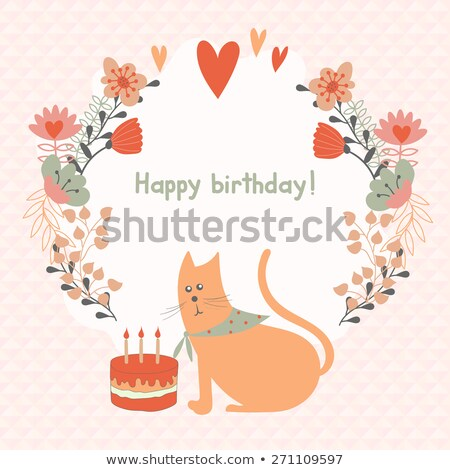 bright background with cats flowers and hearts stock photo © elmiko