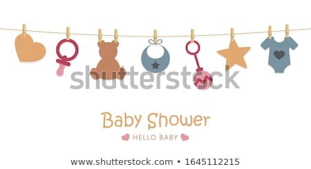 welcome baby card with teddy bear Stock photo © balasoiu