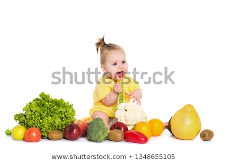 cute · bebé · manzana · frutas · nino · azul - foto stock © mikko