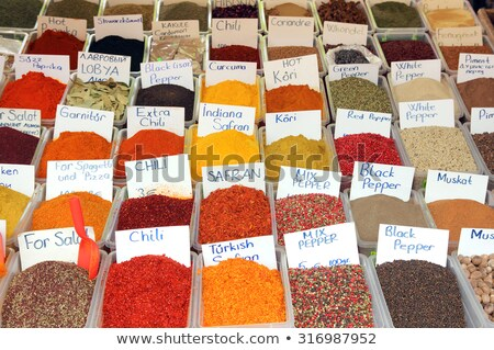 variety of spices on turkish market stock photo © mikko