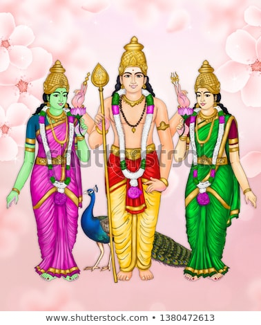 Lord Murugan and his two wives, Valli and Deivayanai. stock photo © Klodien