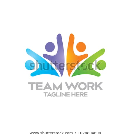 csapatmunka · puzzle · logo · szép · tiszta · egyszerű - stock fotó © burakowski