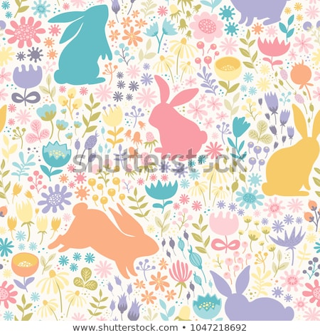 Multicolor  cute  easter seamless pattern with bunnies Stock photo © kari-njakaBU