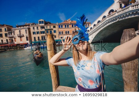 Donna veneziano canale sfondo barca architettura Foto d'archivio © Nejron