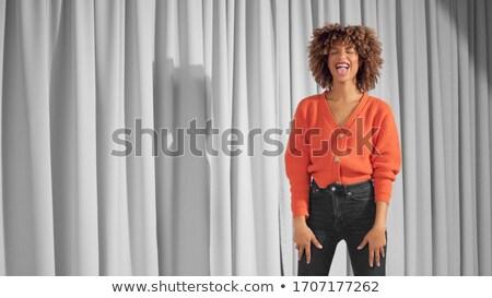 Fiatal nő meleg ruha ki nyelv fiatal felnőtt kaukázusi Stock fotó © bmonteny