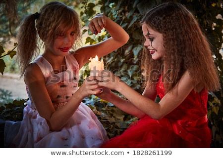 два деревенский девочек теплица дамы цветы Сток-фото © konradbak