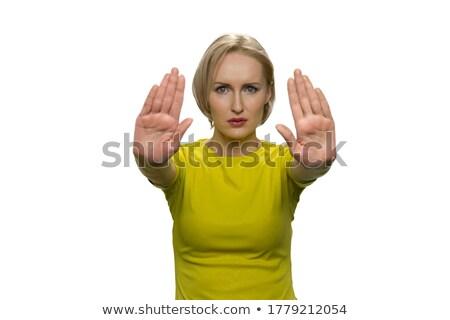 stop · figyelmeztető · jel · irányítás · mutat · stoptábla · figyelmeztetés - stock fotó © bmonteny