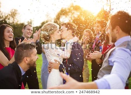 Genç yeni evli poz eski gri Stok fotoğraf © smuki