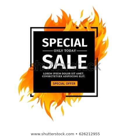 Fire flame sale card, vector illustration Stock photo © carodi