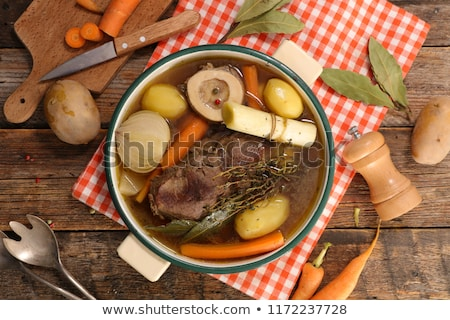 Marhapörkölt fa háttér vacsora sárgarépa étel Stock fotó © M-studio