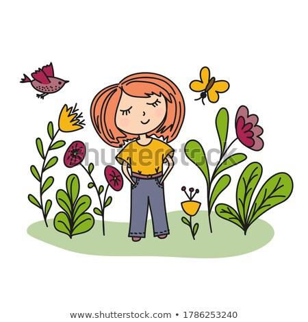 Stock fotó: Fiatal · hölgy · pillangók · színes · arc · pillangó