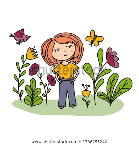 young lady among the butterflies stock photo © konradbak