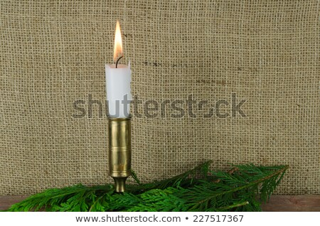 Kaars groene decoratie jute witte brandend Stockfoto © olandsfokus