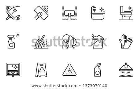 mão · luva · esponja · ajudar · serviço · banheiro - foto stock © simazoran