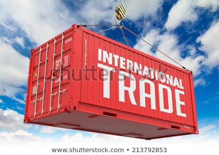 Relocation - Red Hanging Cargo Container. Stock photo © tashatuvango