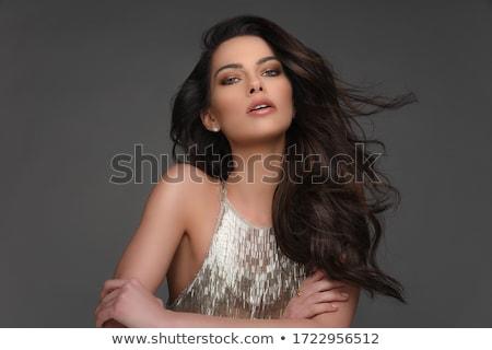 Retrato bela mulher longo cabelo castanho cinza Foto stock © deandrobot