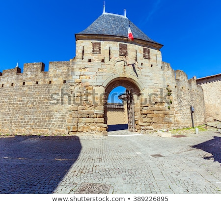 outside walls of porte narbonnaise at carcassonne in france stock photo © perszing1982