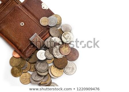barna · pénztárca · bankjegyek · halom · izolált · fehér - stock fotó © mikko
