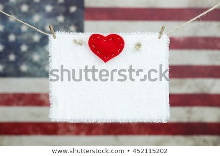 Valentin nap negyedike szívek illusztrált piros hazafias Stock fotó © Irisangel
