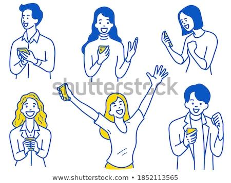mutlu · gülme · adam · kaldırdı · ellerini · mutluluk · jest - stok fotoğraf © dolgachov
