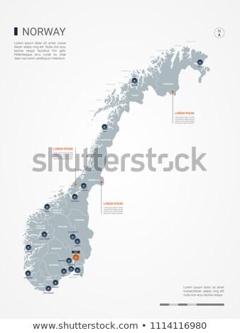 карта · Норвегия · зеленый · шаблон · круга · точки - Сток-фото © mayboro