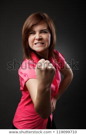 ストックフォト: 積極的な · 若い女性 · こぶし · 孤立した · 白