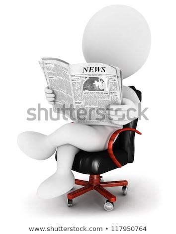 3d man lecture papier de nouvelles blanche côté angle Photo stock © nithin_abraham